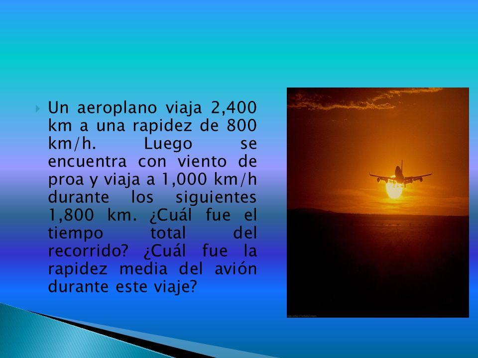 Un aeroplano viaja 2,400 km a una rapidez de 800 km/h
