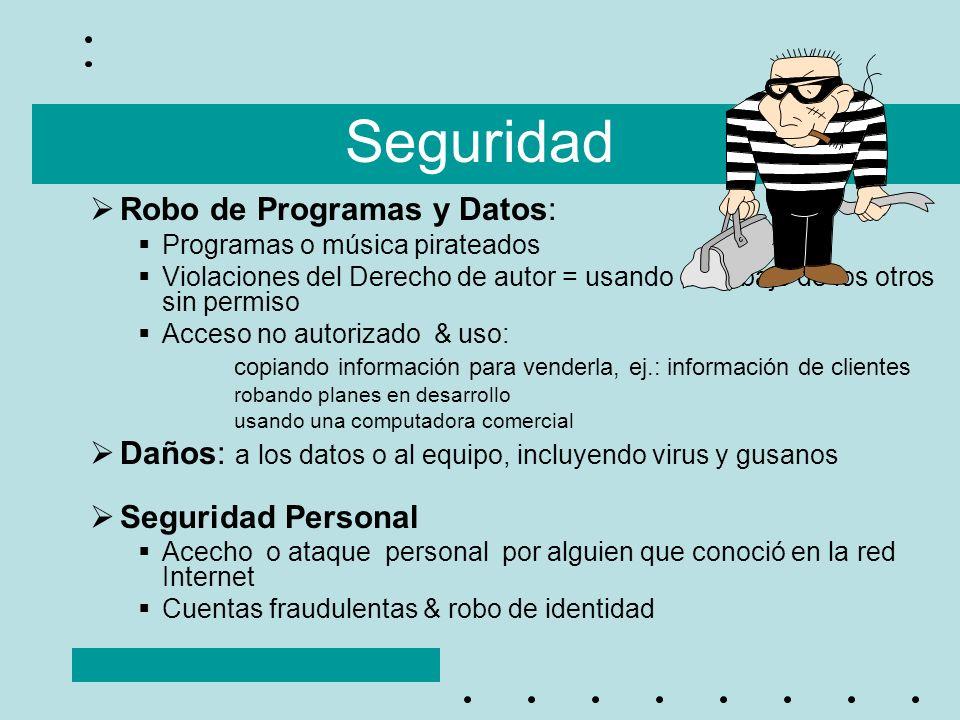 Seguridad Robo de Programas y Datos: