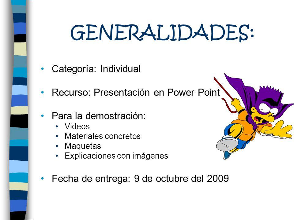 GENERALIDADES: Categoría: Individual