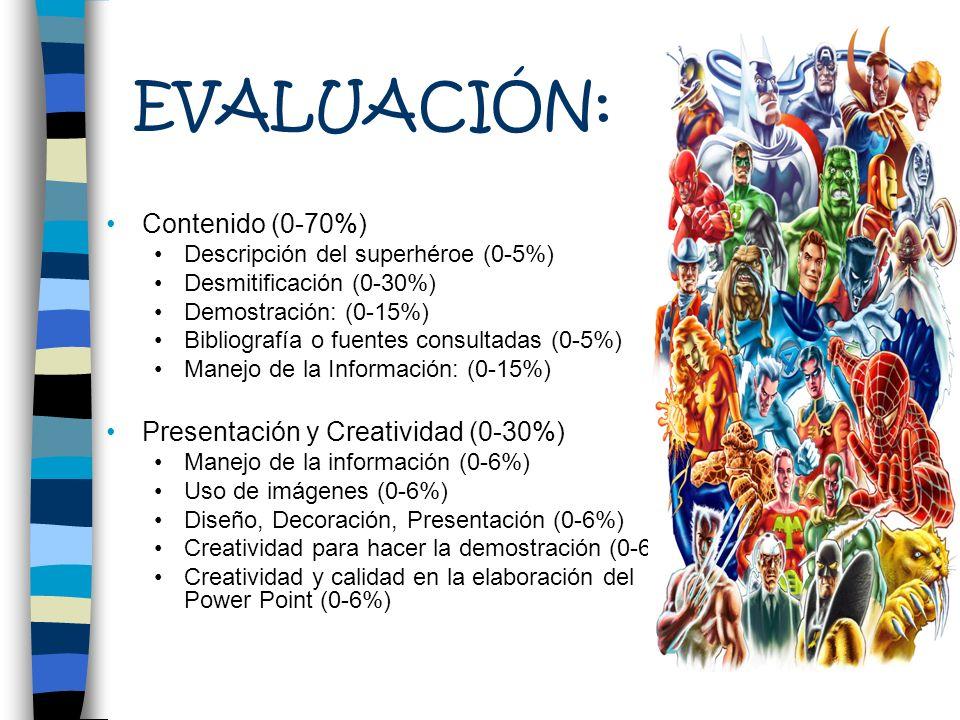EVALUACIÓN: Contenido (0-70%) Presentación y Creatividad (0-30%)