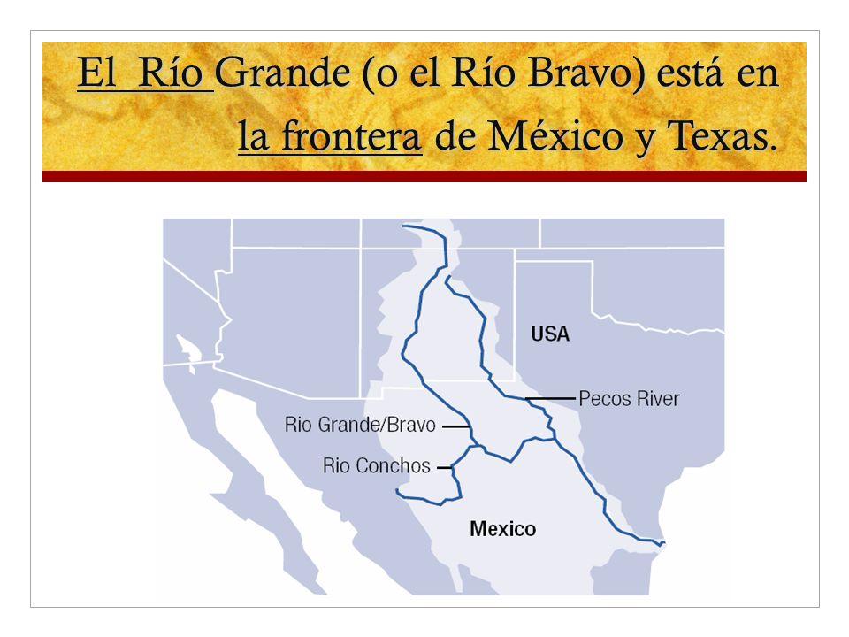 El Río Grande (o el Río Bravo) está en la frontera de México y Texas.