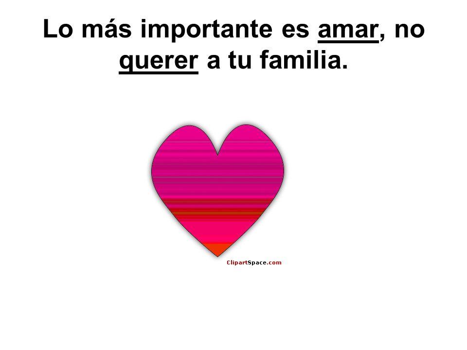 Lo más importante es amar, no querer a tu familia.