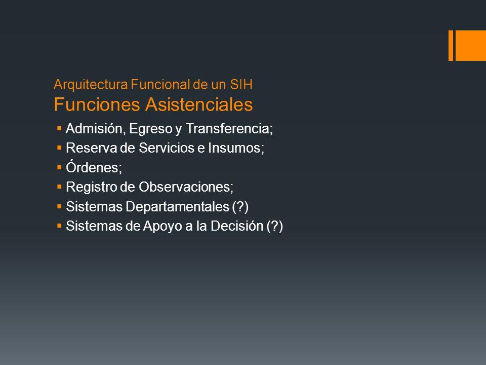 Arquitectura Funcional de un SIH Funciones Asistenciales