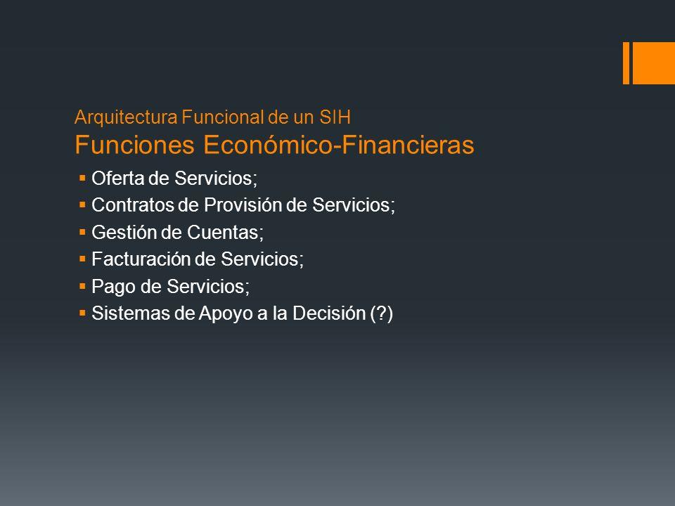 Arquitectura Funcional de un SIH Funciones Económico-Financieras