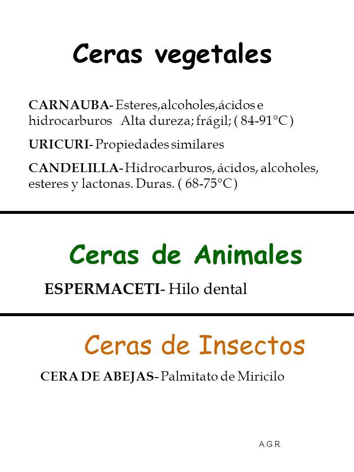 Ceras vegetales Ceras de Animales Ceras de Insectos