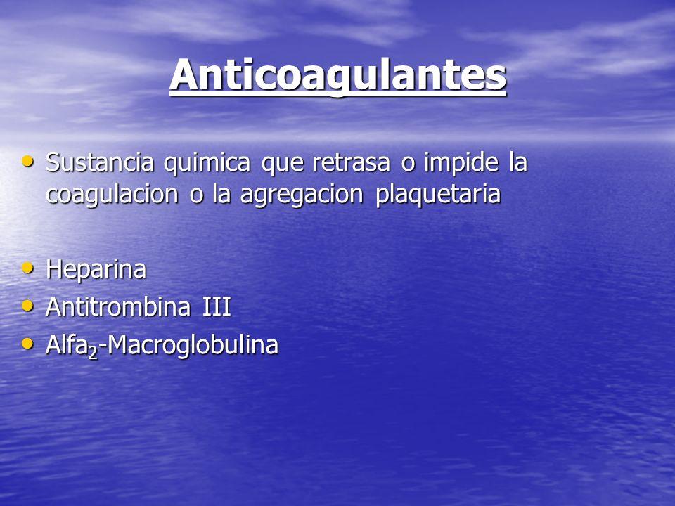 Anticoagulantes Sustancia quimica que retrasa o impide la coagulacion o la agregacion plaquetaria. Heparina.