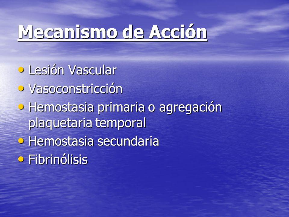 Mecanismo de Acción Lesión Vascular Vasoconstricción