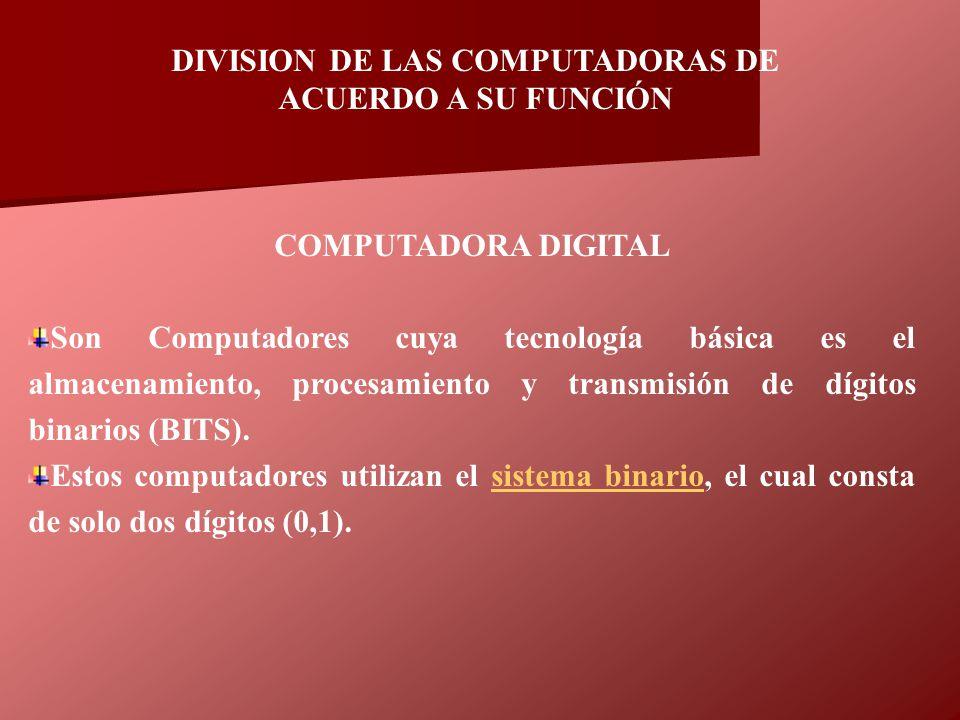 DIVISION DE LAS COMPUTADORAS DE