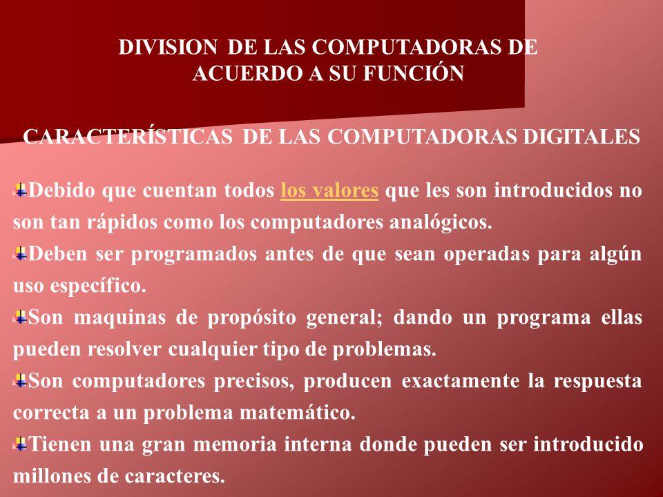 DIVISION DE LAS COMPUTADORAS DE ACUERDO A SU FUNCIÓN