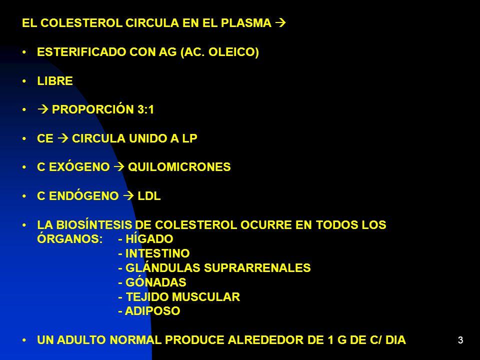 EL COLESTEROL CIRCULA EN EL PLASMA 