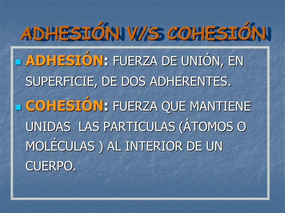 ADHESIÓN V/S COHESIÓN ADHESIÓN: FUERZA DE UNIÓN, EN SUPERFICIE, DE DOS ADHERENTES.