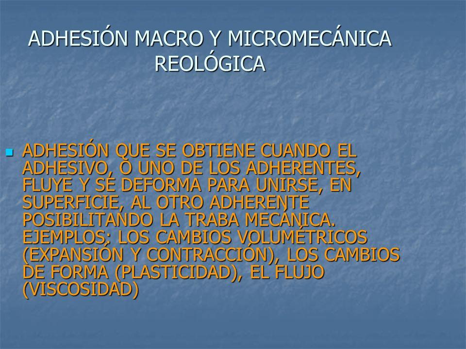 ADHESIÓN MACRO Y MICROMECÁNICA REOLÓGICA