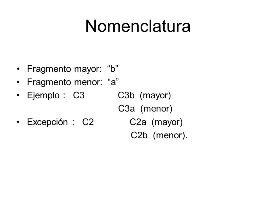 Nomenclatura Fragmento mayor: b Fragmento menor: a