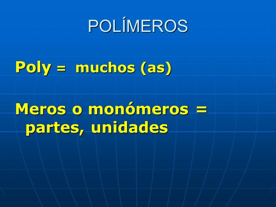 POLÍMEROS Poly = muchos (as) Meros o monómeros = partes, unidades