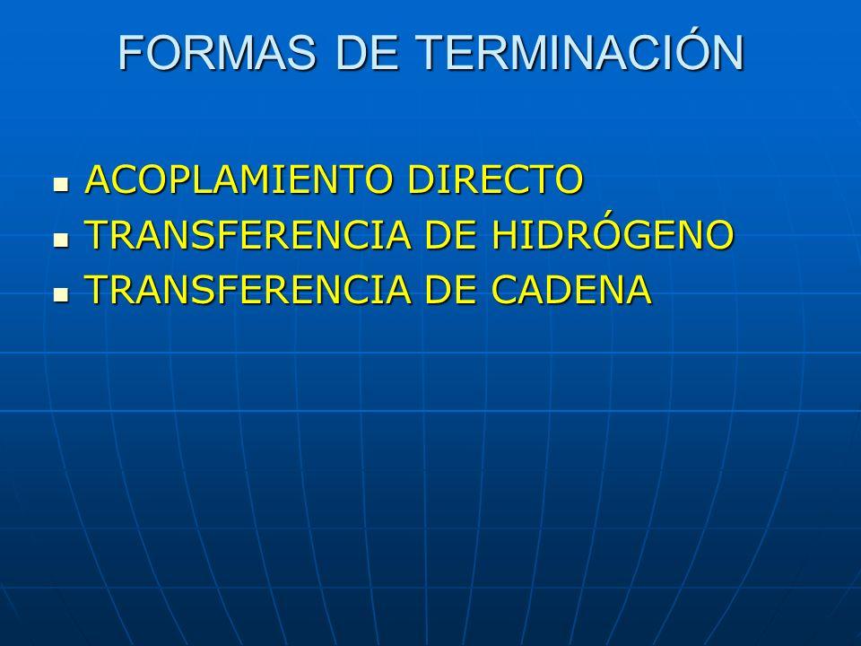 FORMAS DE TERMINACIÓN ACOPLAMIENTO DIRECTO TRANSFERENCIA DE HIDRÓGENO