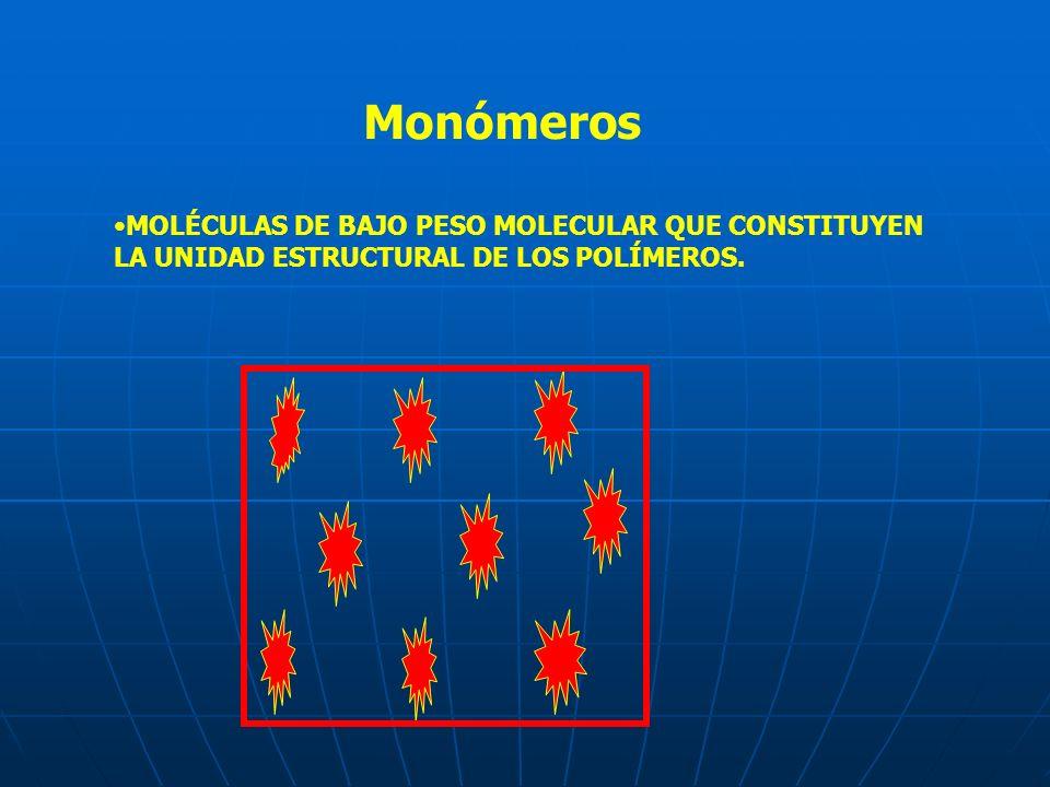 Monómeros MOLÉCULAS DE BAJO PESO MOLECULAR QUE CONSTITUYEN