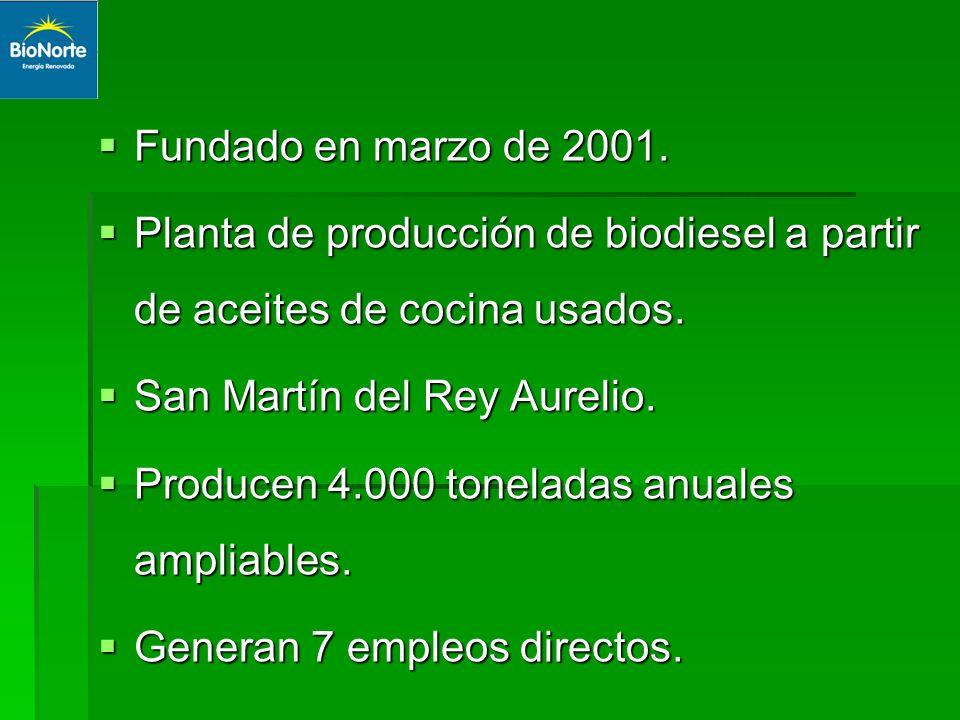 Fundado en marzo de 2001. Planta de producción de biodiesel a partir de aceites de cocina usados. San Martín del Rey Aurelio.