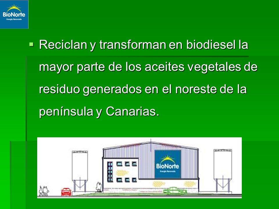 Reciclan y transforman en biodiesel la mayor parte de los aceites vegetales de residuo generados en el noreste de la península y Canarias.