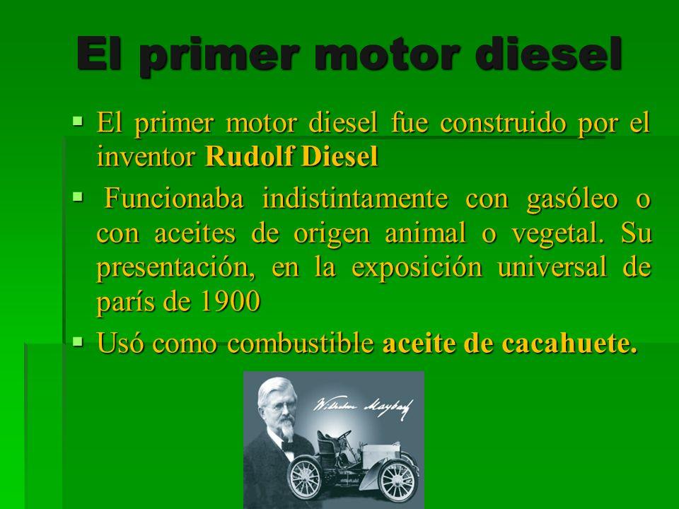 El primer motor diesel El primer motor diesel fue construido por el inventor Rudolf Diesel.