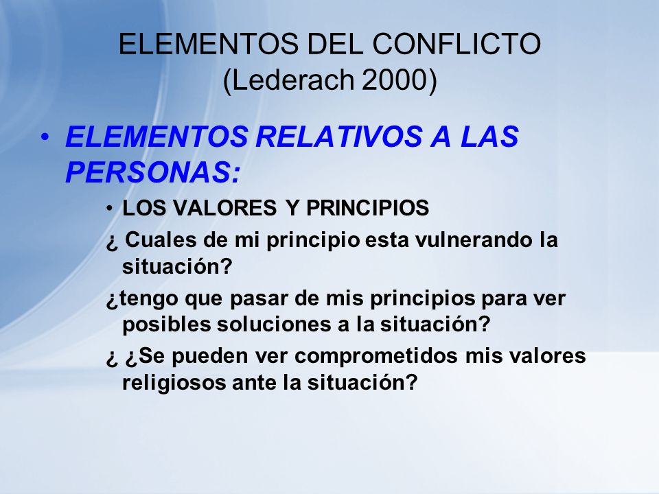 ELEMENTOS DEL CONFLICTO (Lederach 2000)