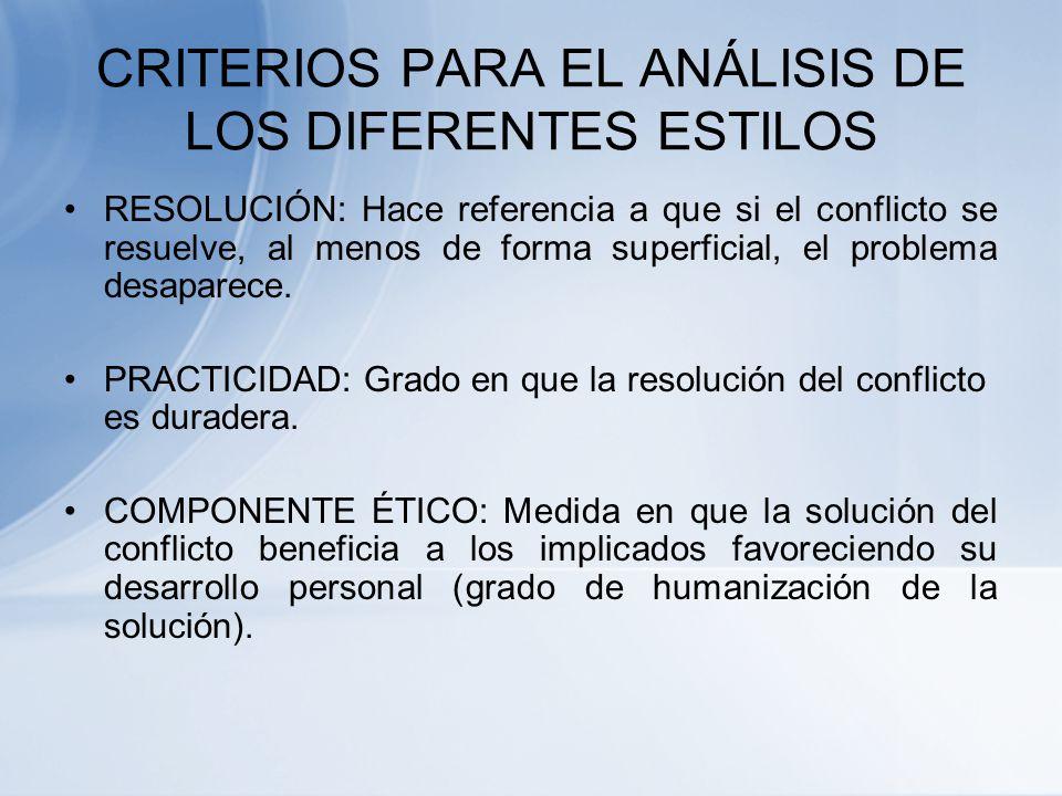 CRITERIOS PARA EL ANÁLISIS DE LOS DIFERENTES ESTILOS