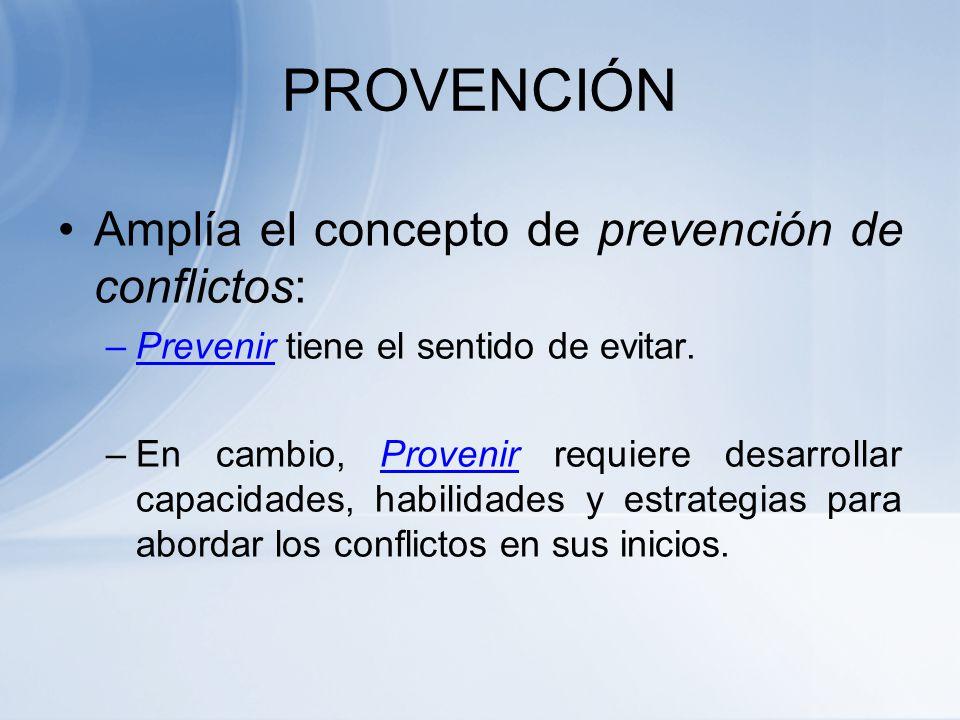 PROVENCIÓN Amplía el concepto de prevención de conflictos: