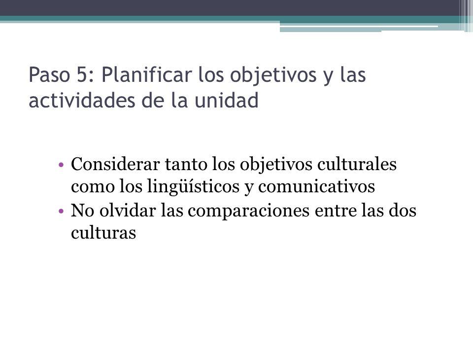 Paso 5: Planificar los objetivos y las actividades de la unidad