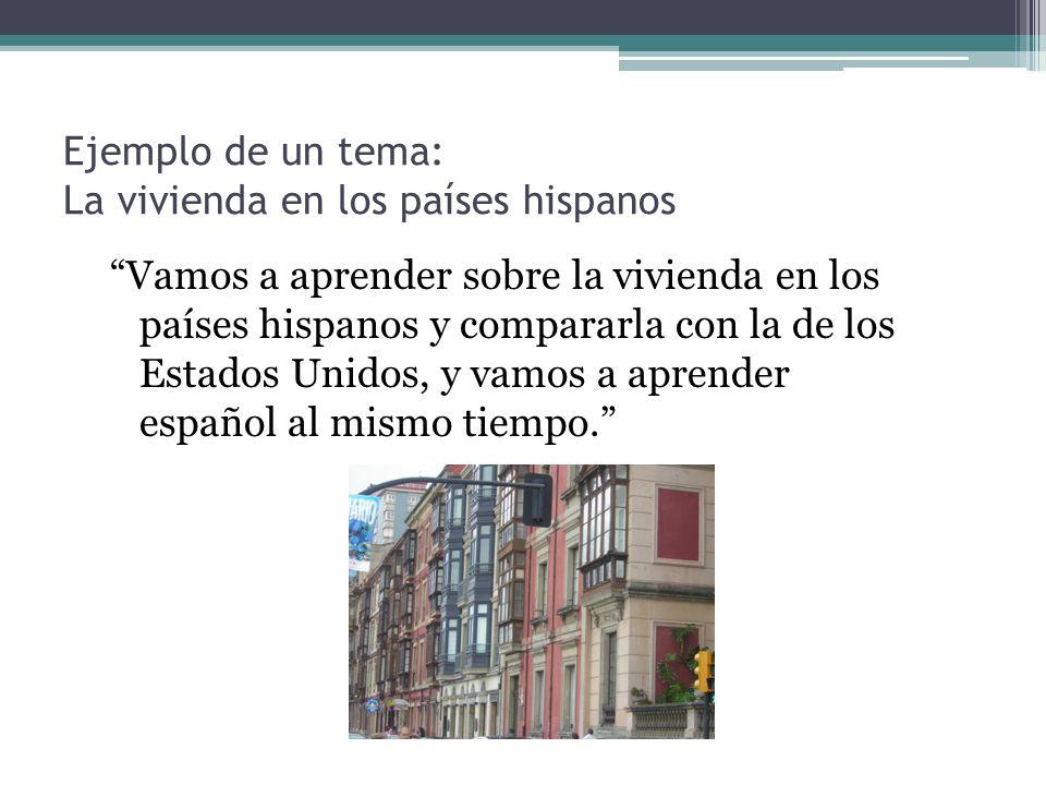 Ejemplo de un tema: La vivienda en los países hispanos