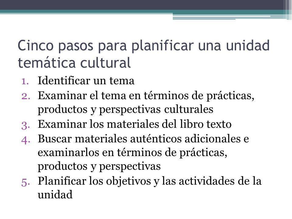 Cinco pasos para planificar una unidad temática cultural