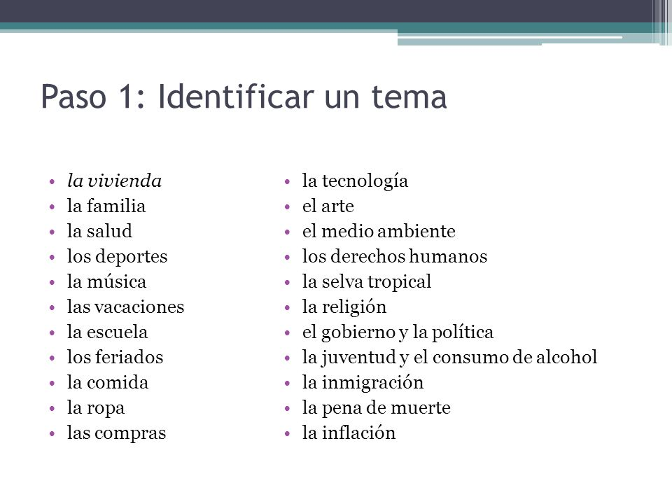Paso 1: Identificar un tema