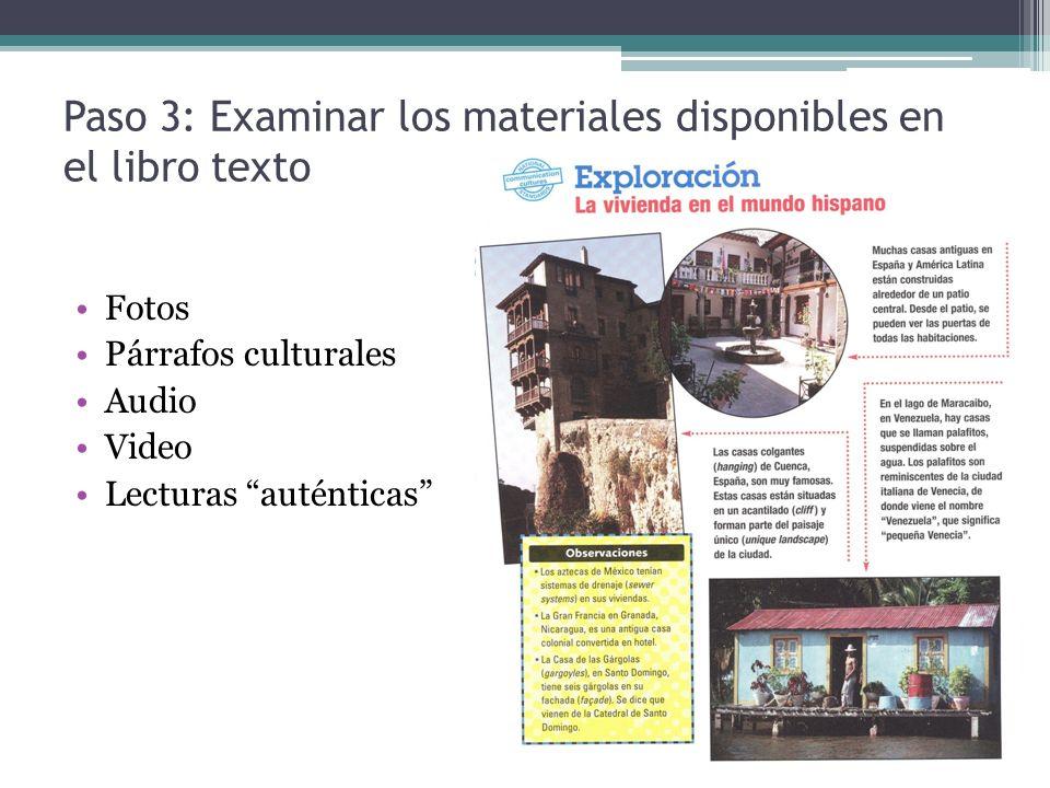 Paso 3: Examinar los materiales disponibles en el libro texto
