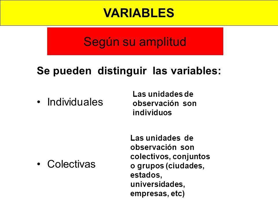VARIABLES Según su amplitud Se pueden distinguir las variables: