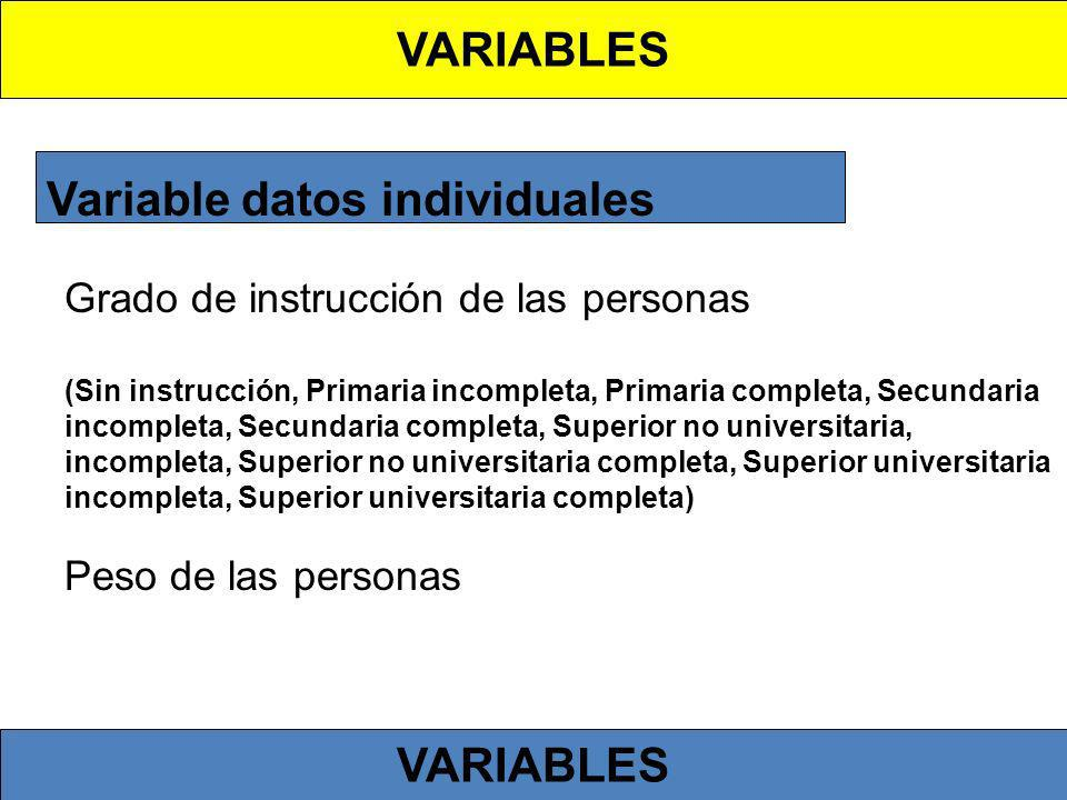 Variable datos individuales