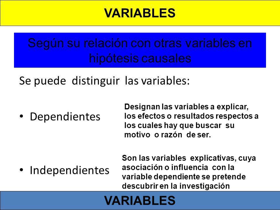 Según su relación con otras variables en hipótesis causales