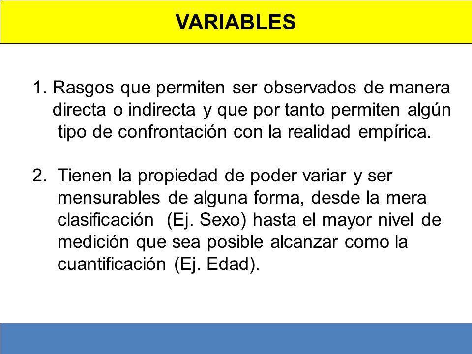 VARIABLES 1. Rasgos que permiten ser observados de manera