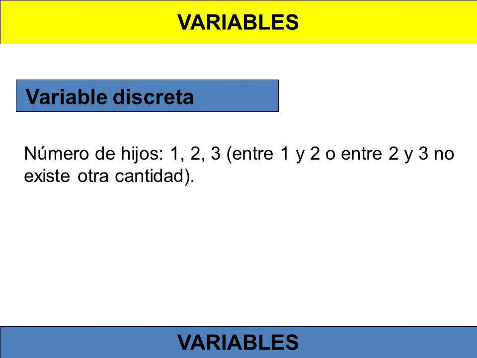 VARIABLES Variable discreta VARIABLES