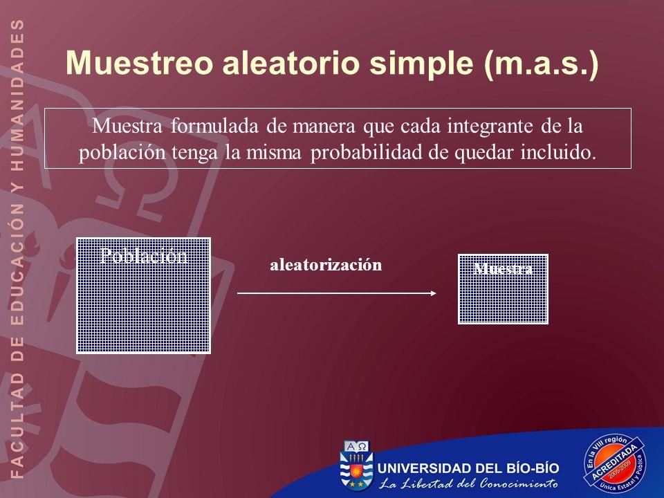 Muestreo aleatorio simple (m.a.s.)