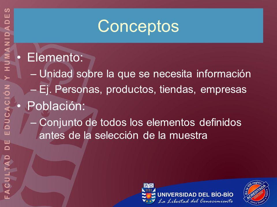 Conceptos Elemento: Población:
