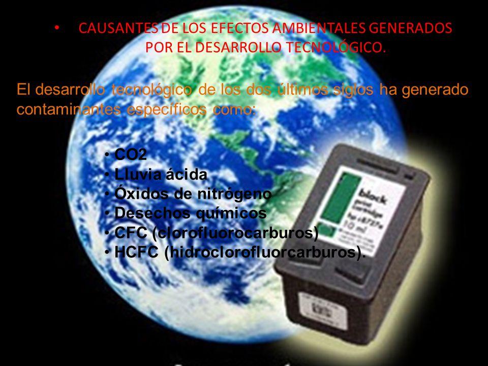 CAUSANTES DE LOS EFECTOS AMBIENTALES GENERADOS POR EL DESARROLLO TECNOLÓGICO.