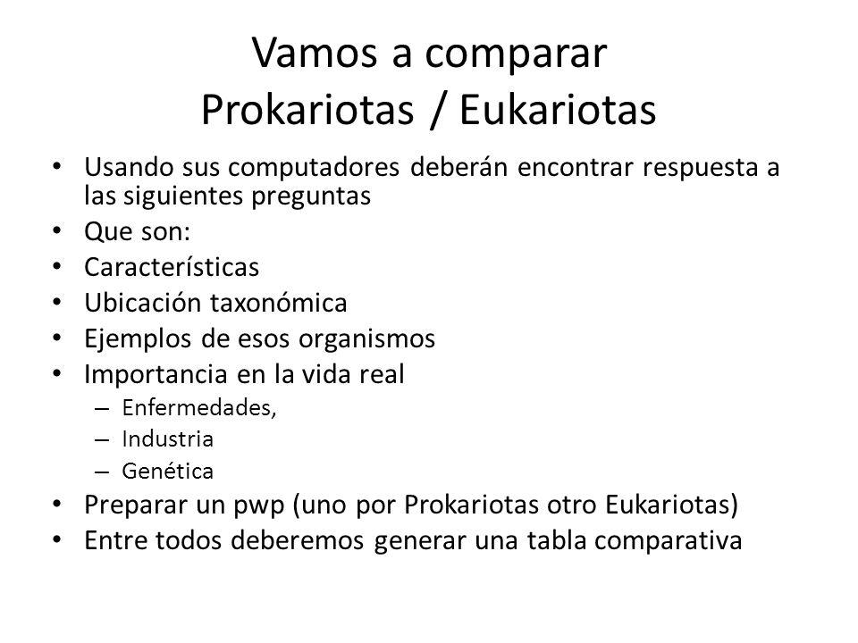 Vamos a comparar Prokariotas / Eukariotas