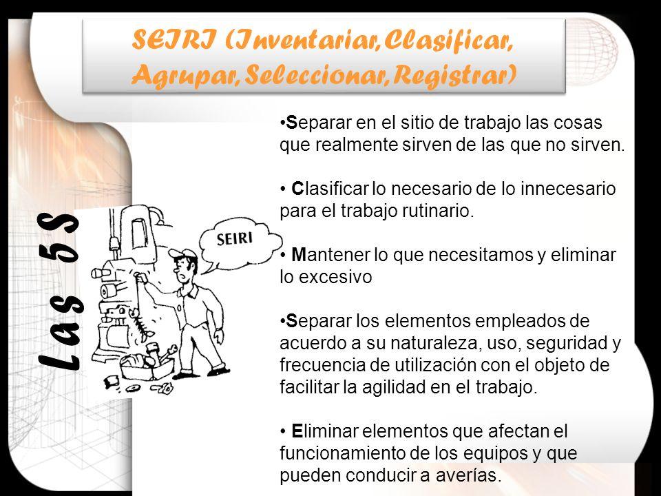 SEIRI (Inventariar, Clasificar, Agrupar, Seleccionar, Registrar)