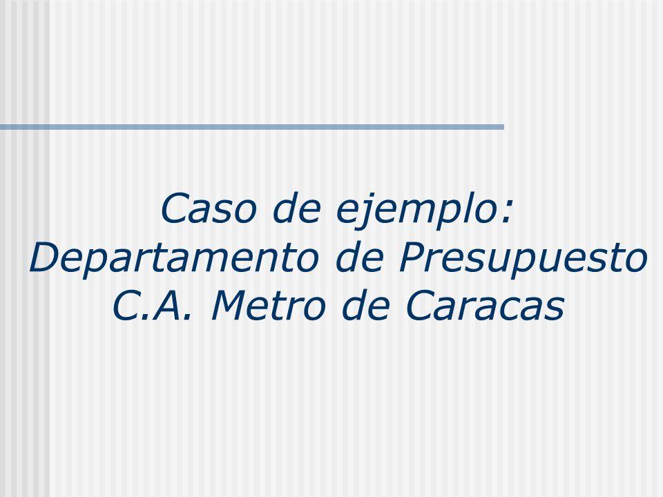 Caso de ejemplo: Departamento de Presupuesto C.A. Metro de Caracas