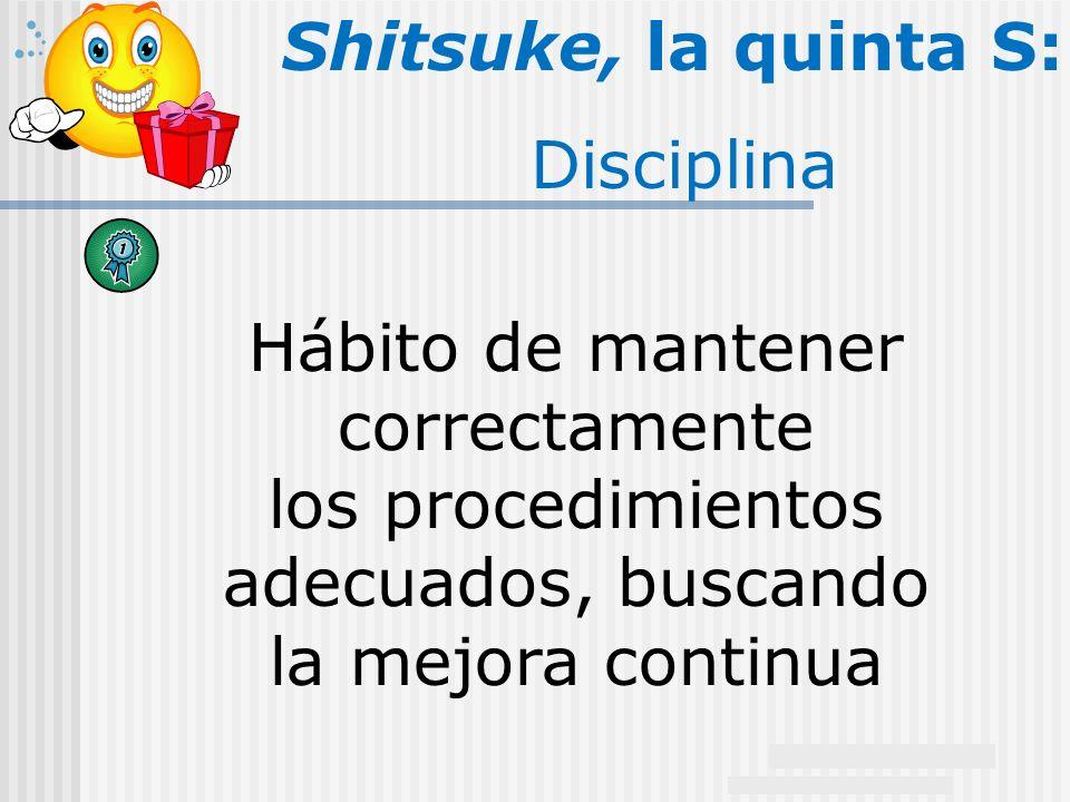 Shitsuke, la quinta S: Disciplina Hábito de mantener correctamente