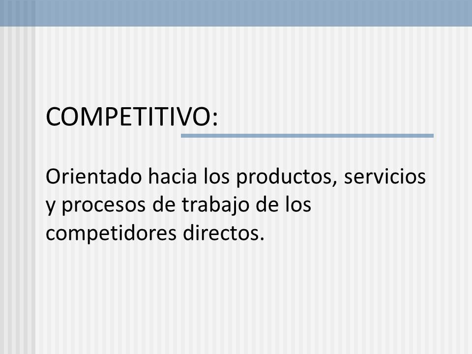 COMPETITIVO:Orientado hacia los productos, servicios y procesos de trabajo de los competidores directos.