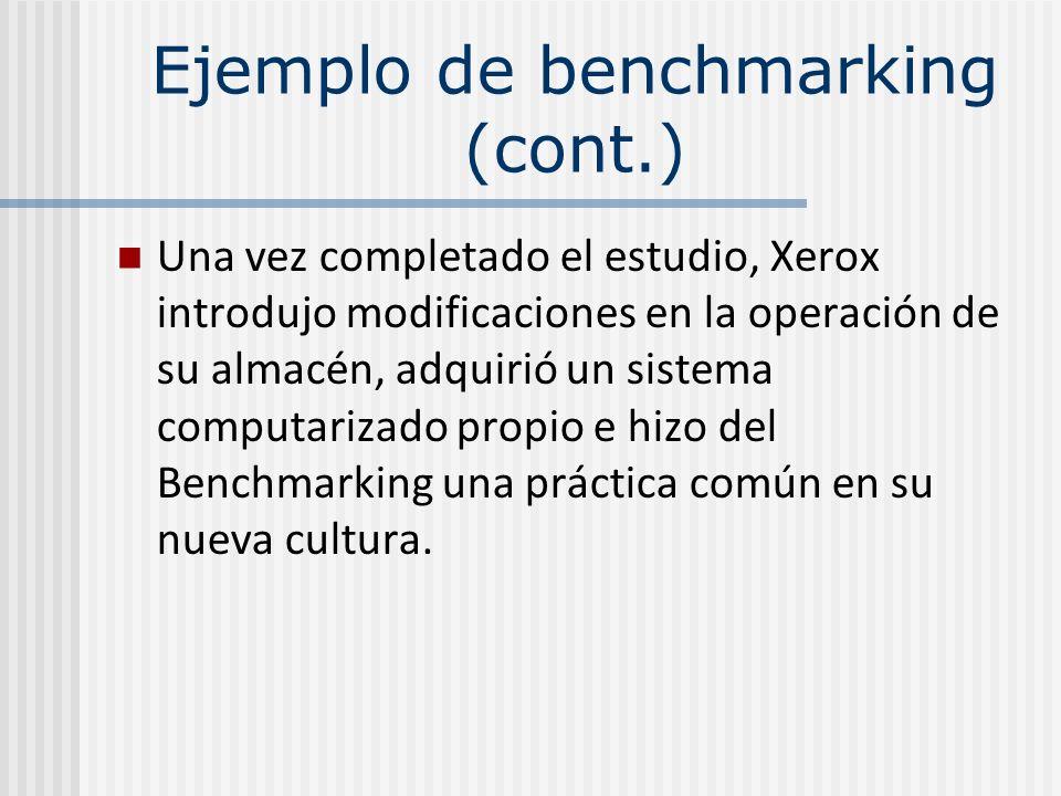 Ejemplo de benchmarking (cont.)
