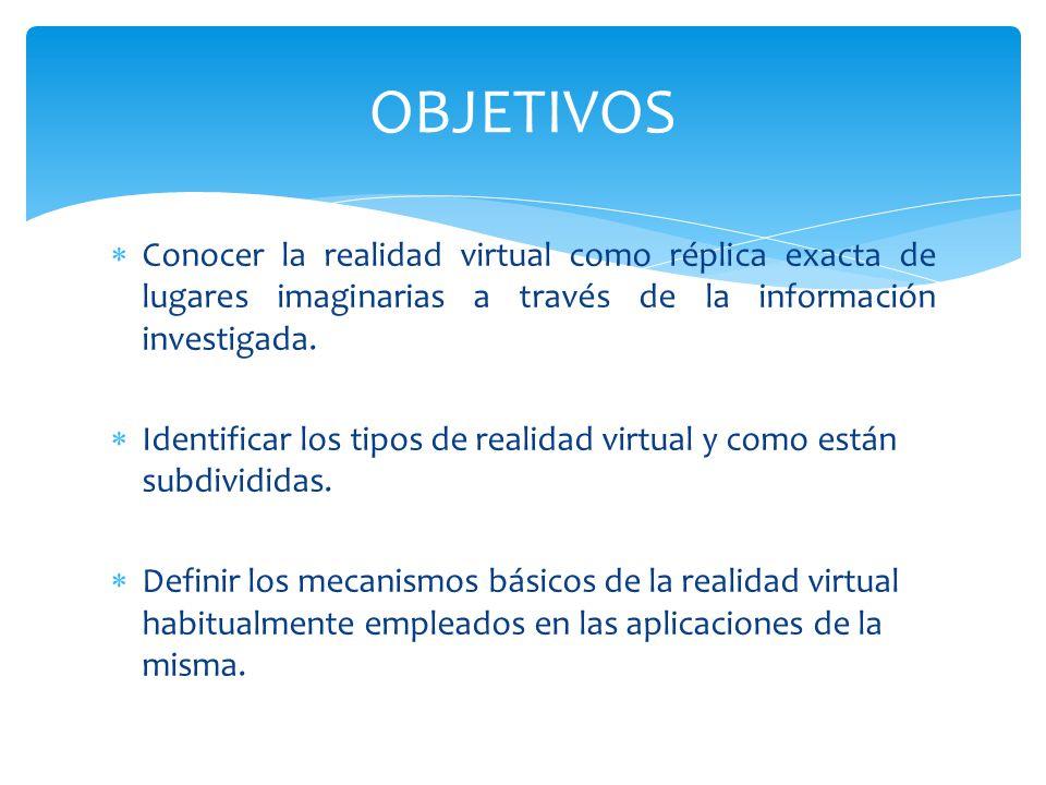 OBJETIVOS Conocer la realidad virtual como réplica exacta de lugares imaginarias a través de la información investigada.