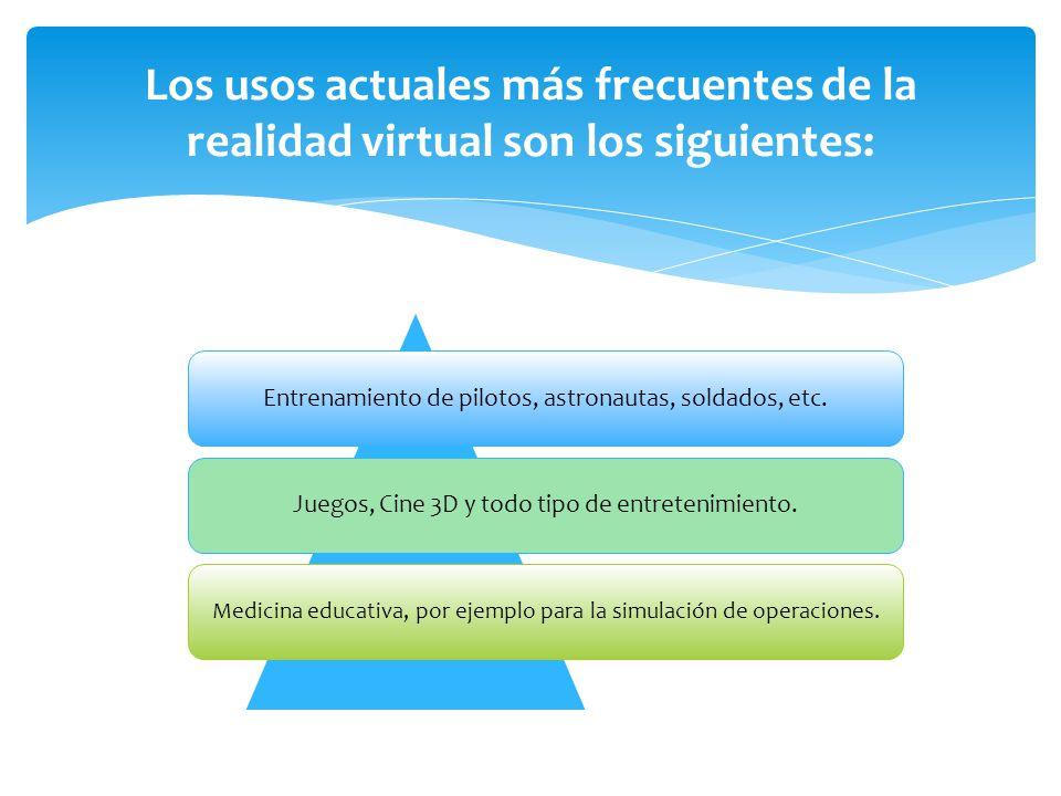 Los usos actuales más frecuentes de la realidad virtual son los siguientes: