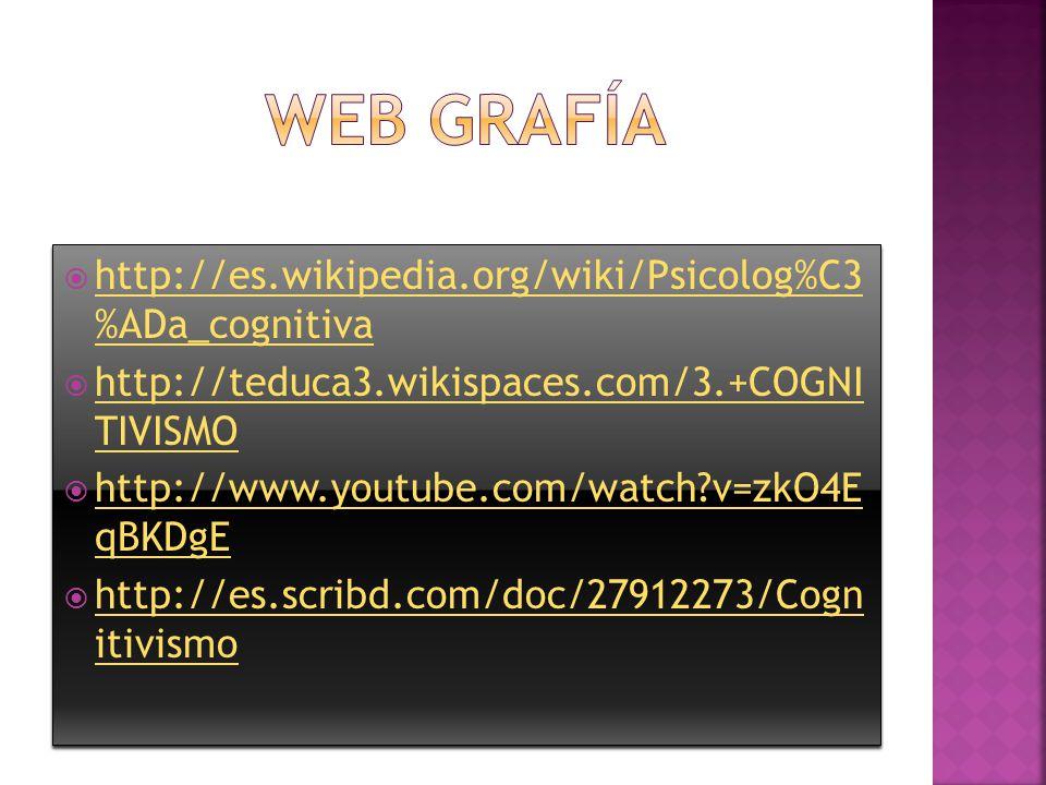Web grafía http://es.wikipedia.org/wiki/Psicolog%C3 %ADa_cognitiva