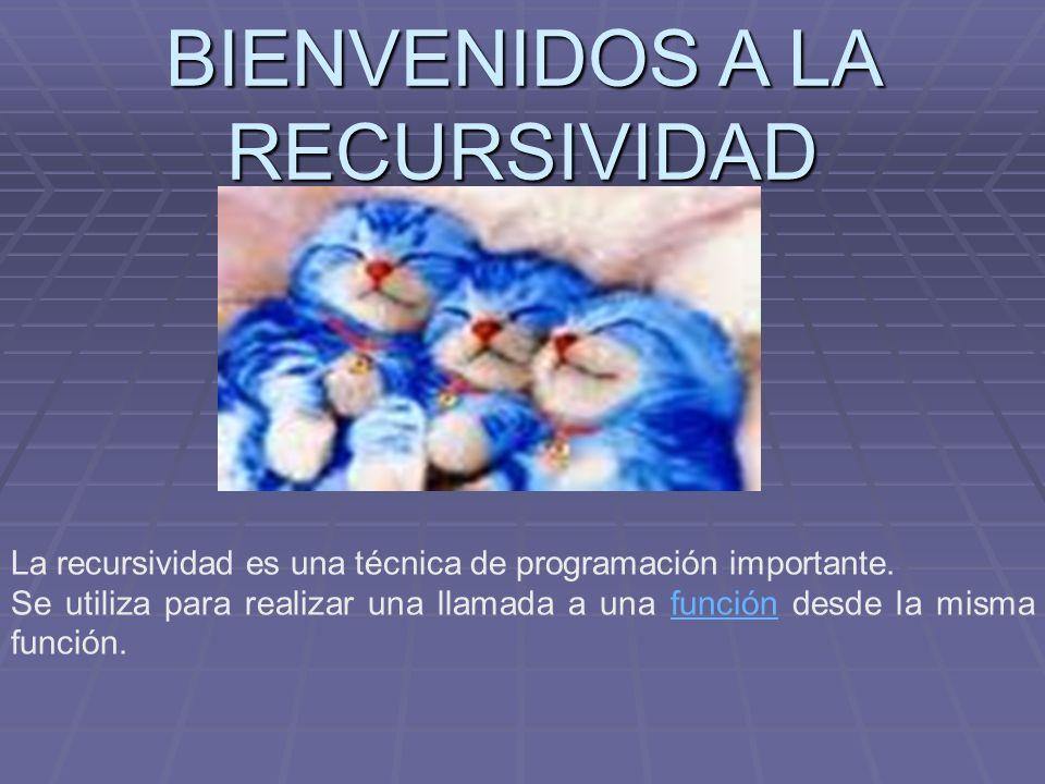 BIENVENIDOS A LA RECURSIVIDAD