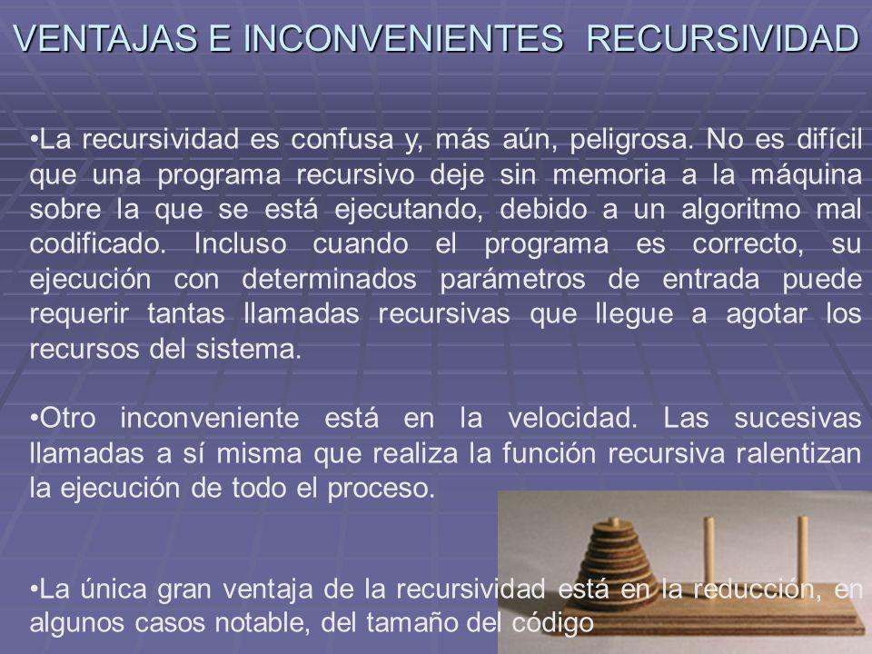 VENTAJAS E INCONVENIENTES RECURSIVIDAD